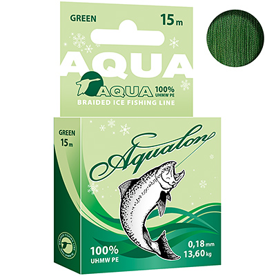 Плетеный шнур Aqualon Dark-Green зимний 0,18mm 15m