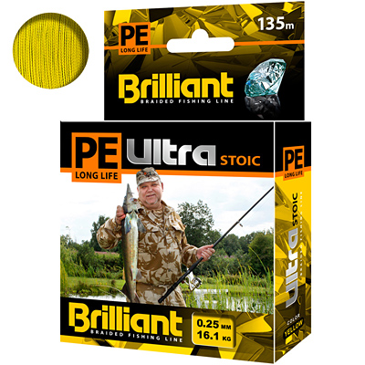 Плетеный шнур PE Ultra Brilliant Stoic Yellow 135 m 0.25 mm